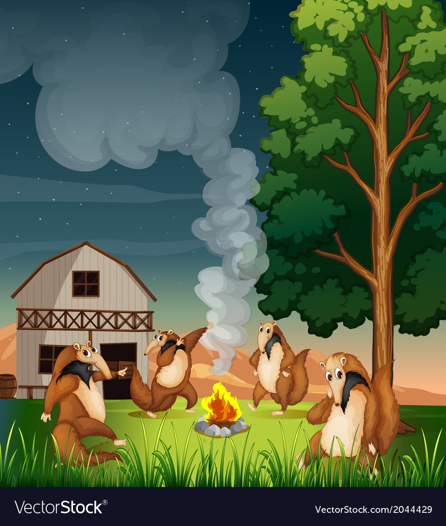 Playful wild animals making a campfire vector | Price: 3 Credit (USD $3)