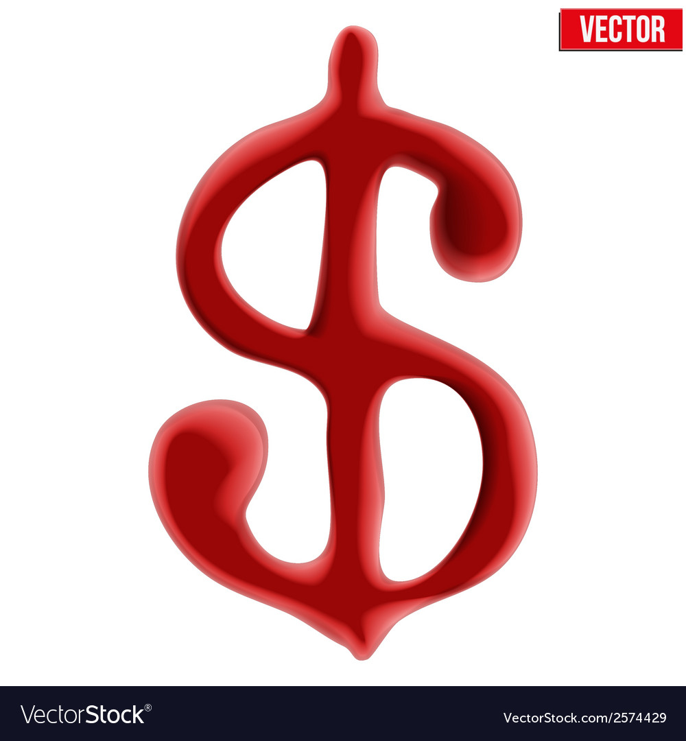 Red blood dollar sign on white background vector | Price: 1 Credit (USD $1)