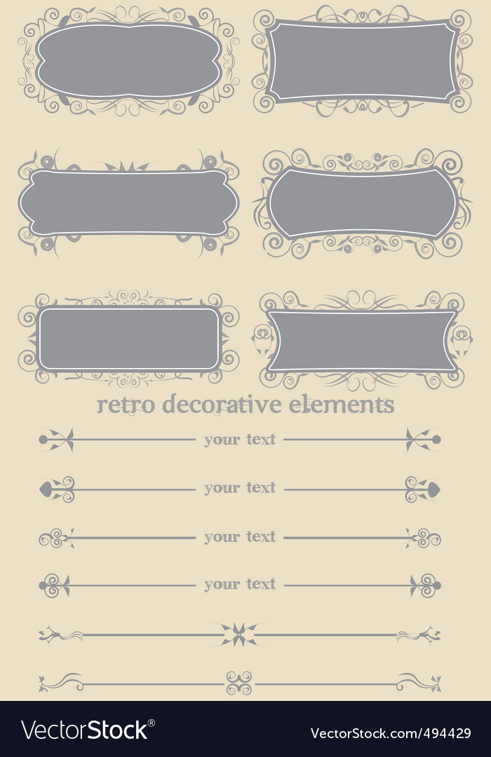 Retro decorative elements i vector | Price: 1 Credit (USD $1)