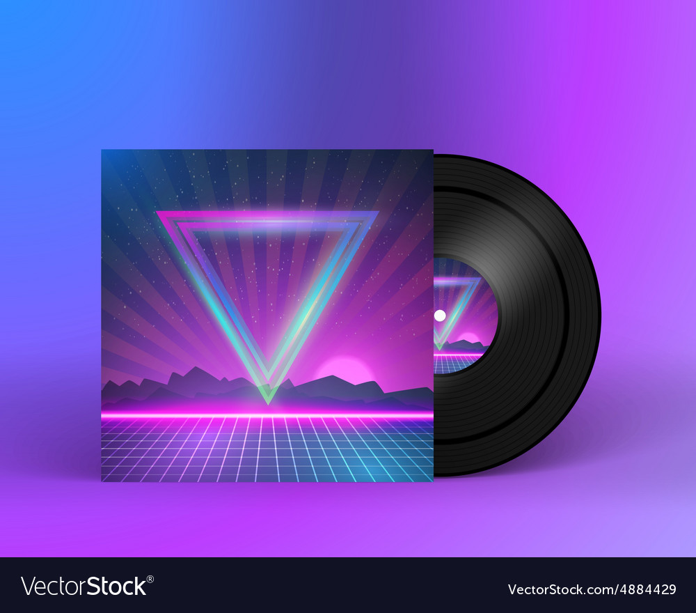 Retro vinyl record 1980s style cover with neon vector