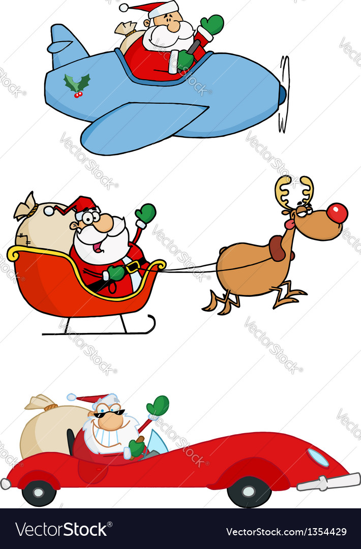 Santa claus transportation vector | Price: 3 Credit (USD $3)