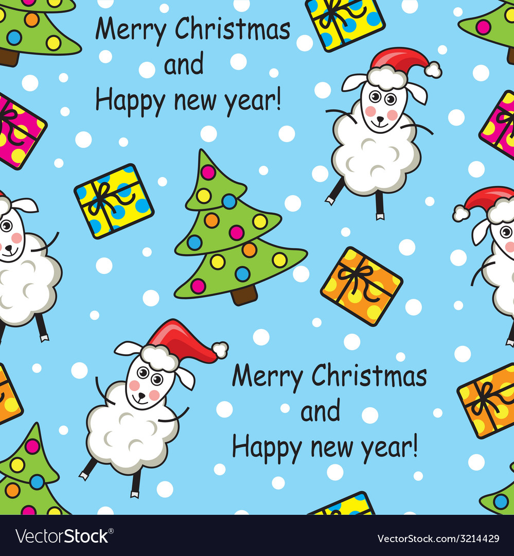 Seamless pattern with sheep gifts and christmas t vector | Price: 1 Credit (USD $1)