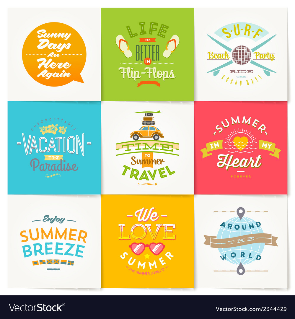 Set of travel and summer vacation type design vector | Price: 1 Credit (USD $1)