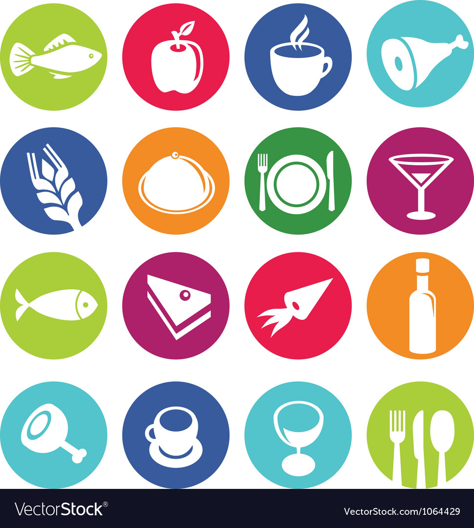 Set or restaurant icons and food vector | Price: 1 Credit (USD $1)