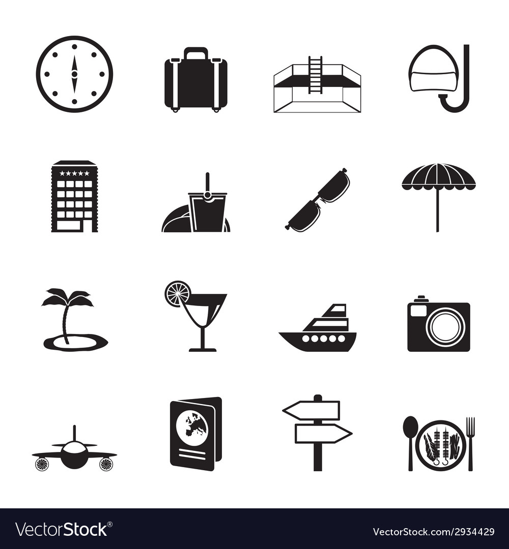 Silhouette travel and tourism icons vector | Price: 1 Credit (USD $1)