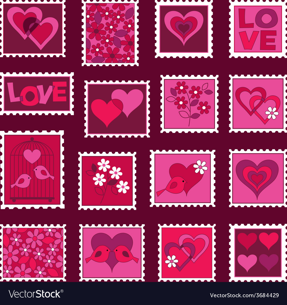Valentines day stamps vector | Price: 1 Credit (USD $1)