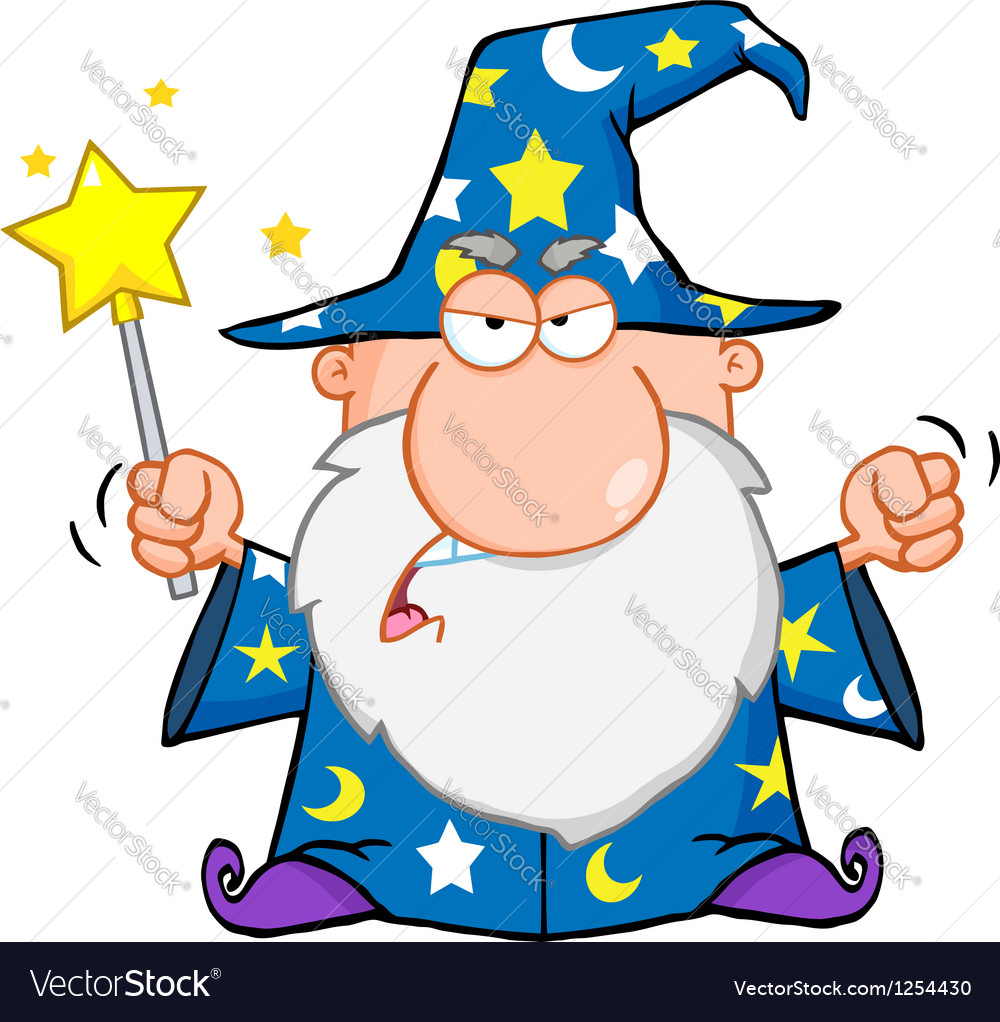 Angry wizard waving with magic wand vector   Price: 1 Credit (USD $1)