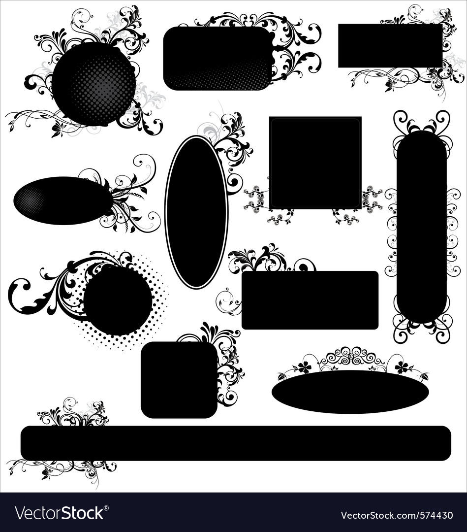 Black floral frames vector | Price: 1 Credit (USD $1)