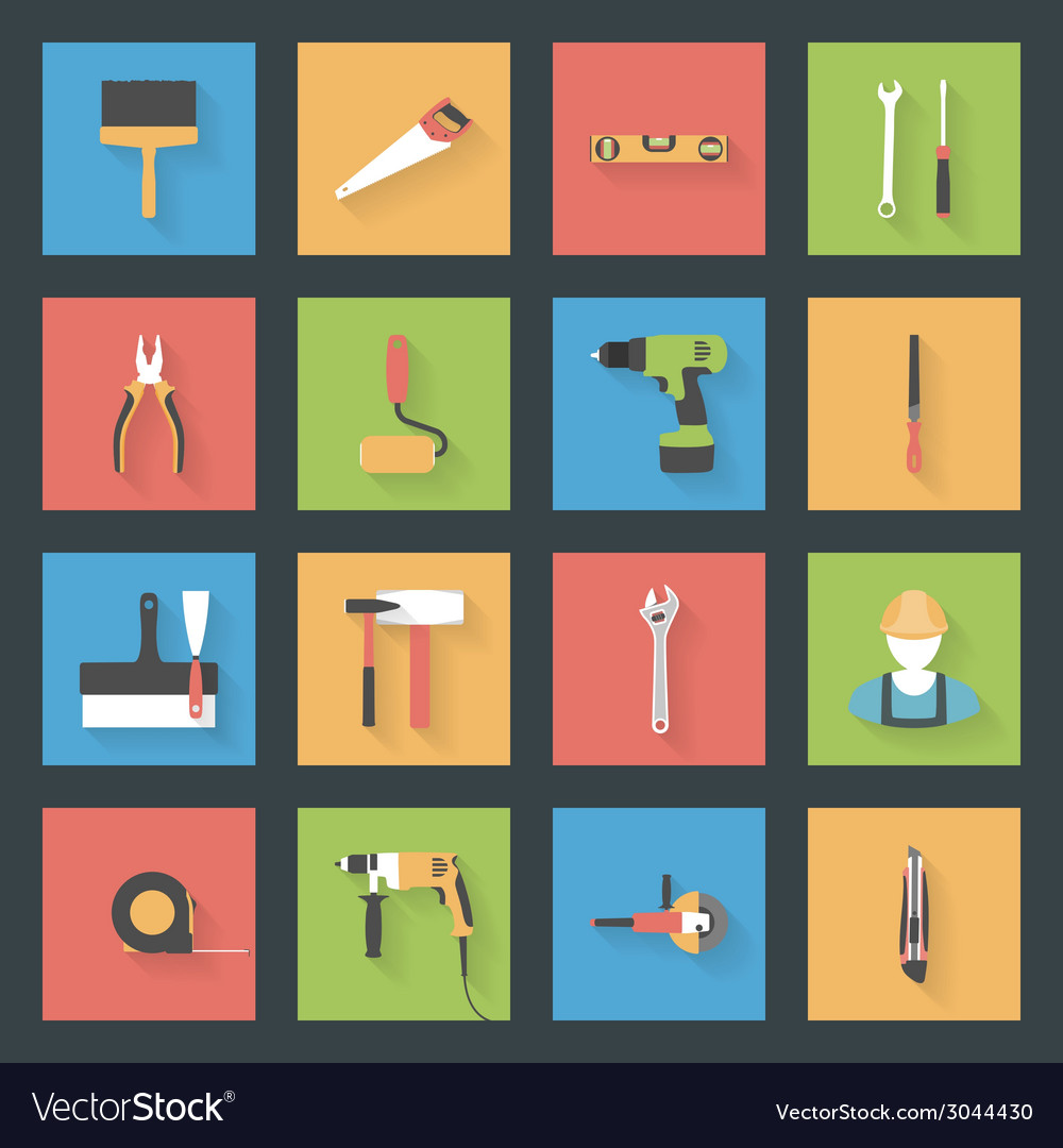 Building flat icons set vector | Price: 1 Credit (USD $1)