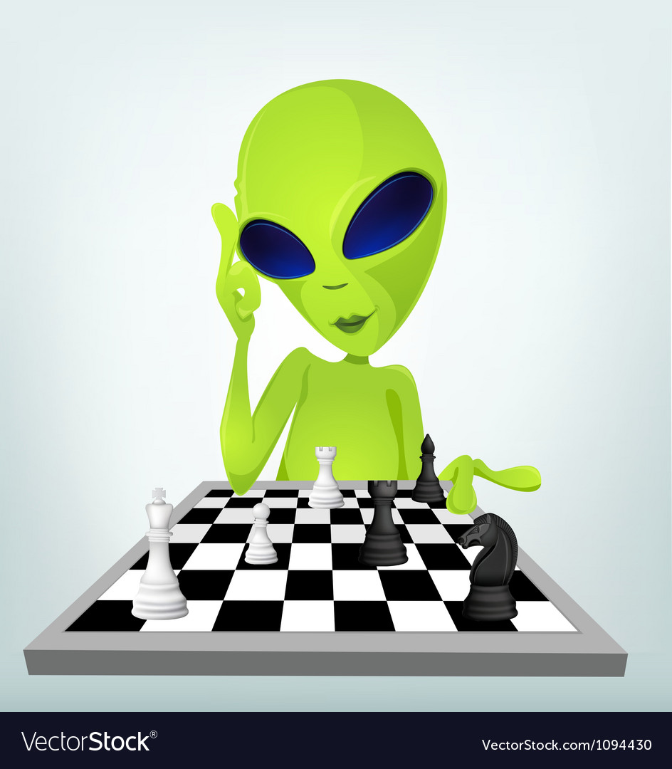 Cartoon alien chess vector | Price: 1 Credit (USD $1)