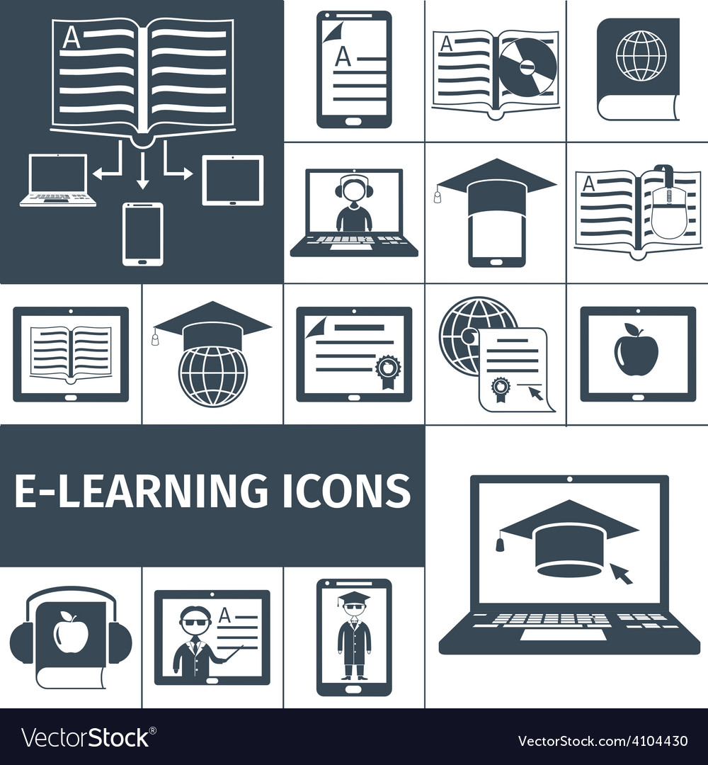 E-learning icon black set vector | Price: 1 Credit (USD $1)
