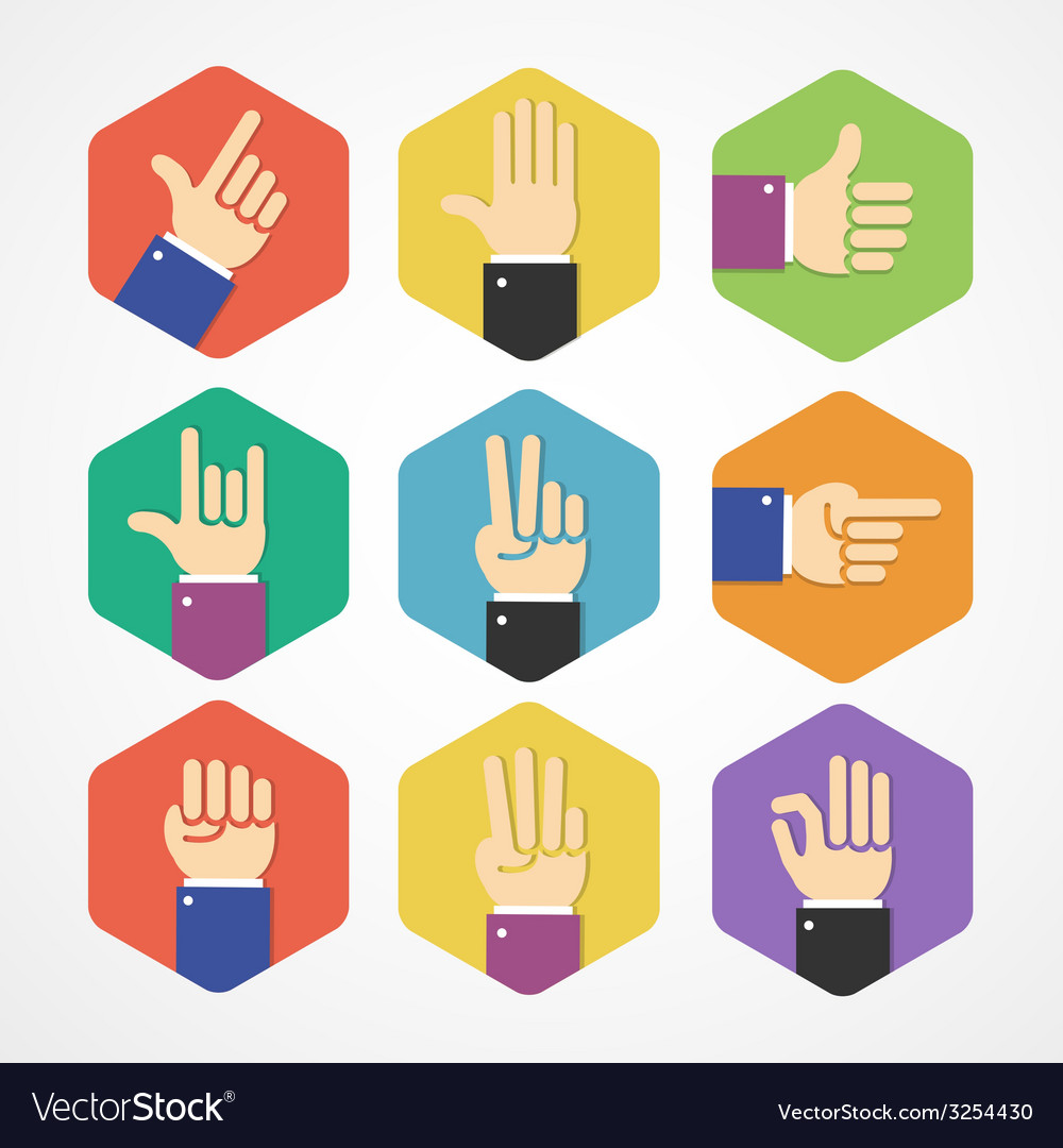 Flat hands icons set vector | Price: 1 Credit (USD $1)