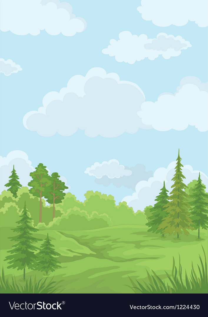 Landscape summer forest vector | Price: 3 Credit (USD $3)
