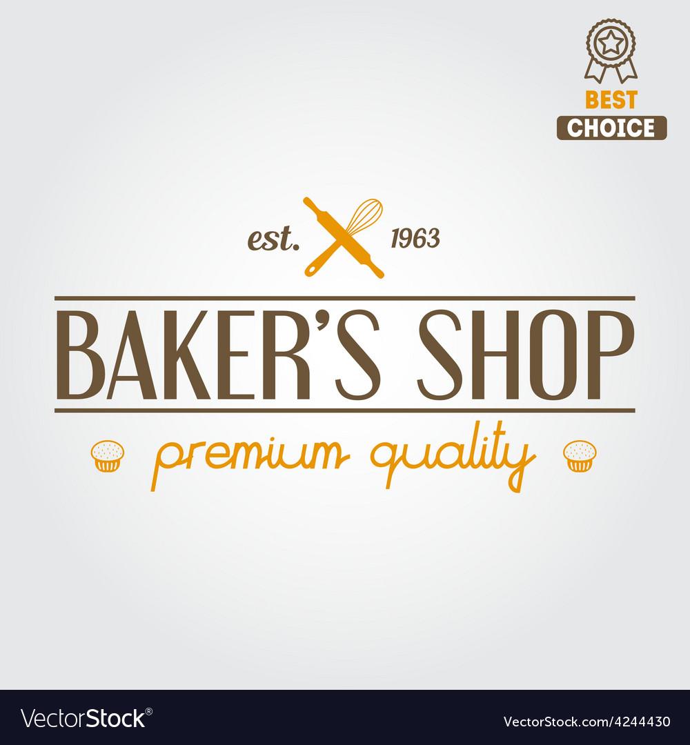 Logo label emblem or badge for bakery or baker vector | Price: 1 Credit (USD $1)