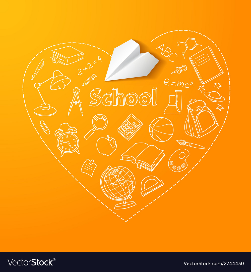Paper plane and school doodle background vector | Price: 1 Credit (USD $1)
