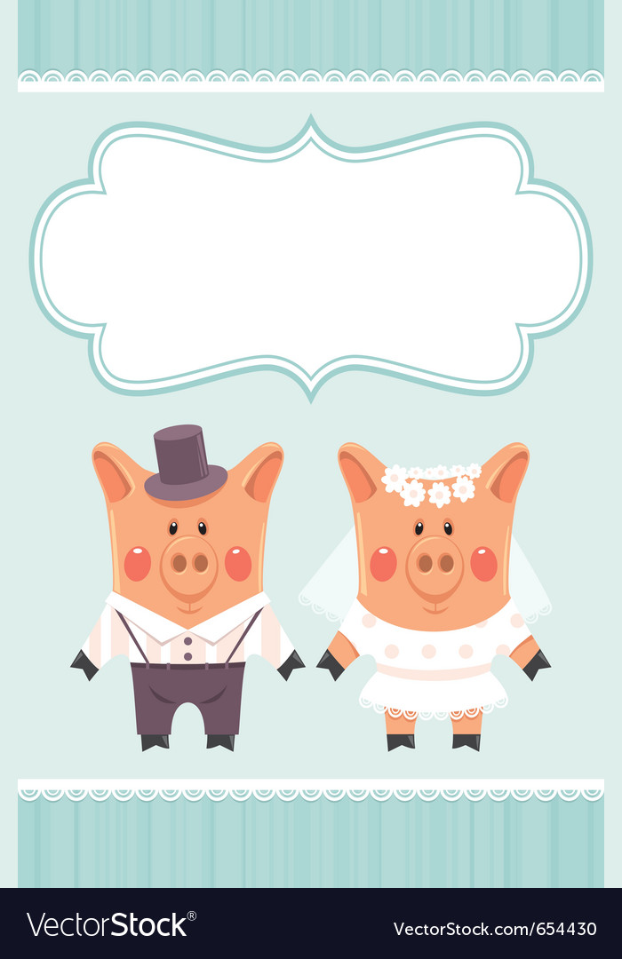 Piggies newlyweds vector | Price: 1 Credit (USD $1)
