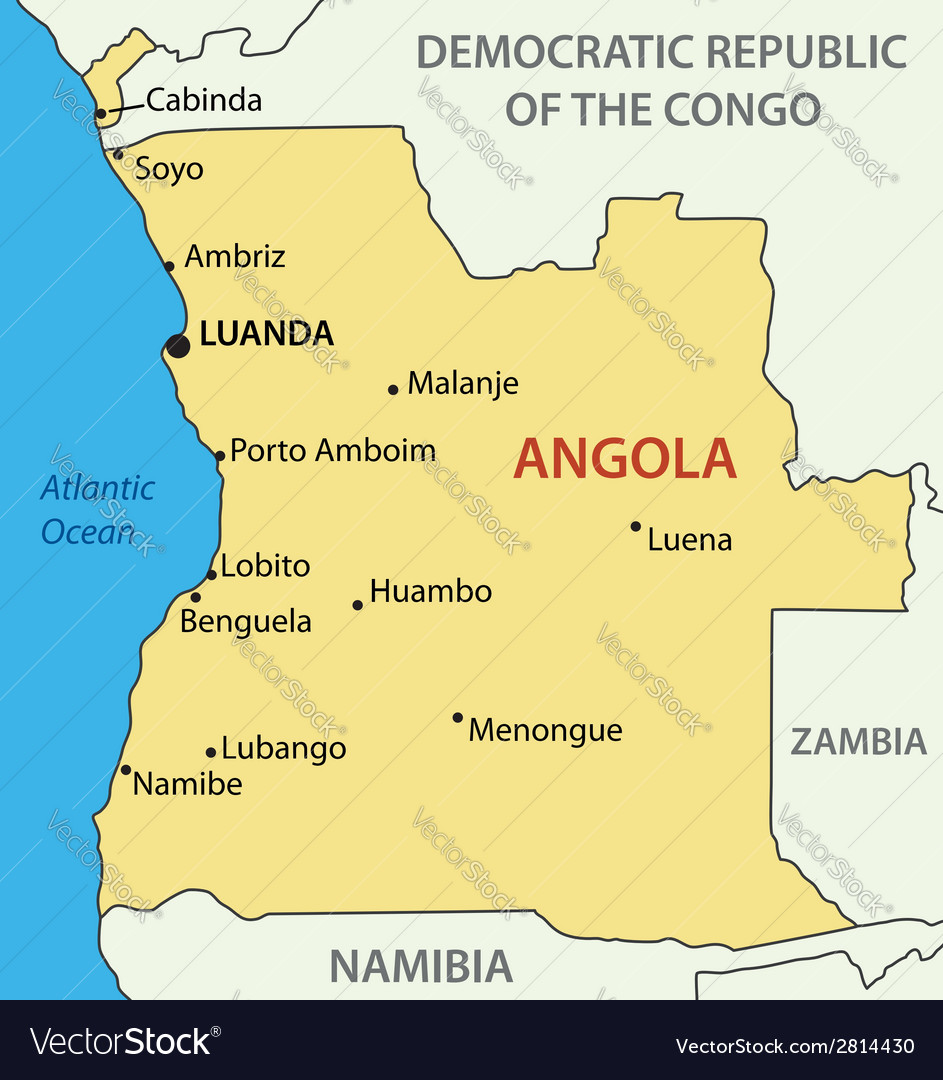 Republic of angola - map vector | Price: 1 Credit (USD $1)