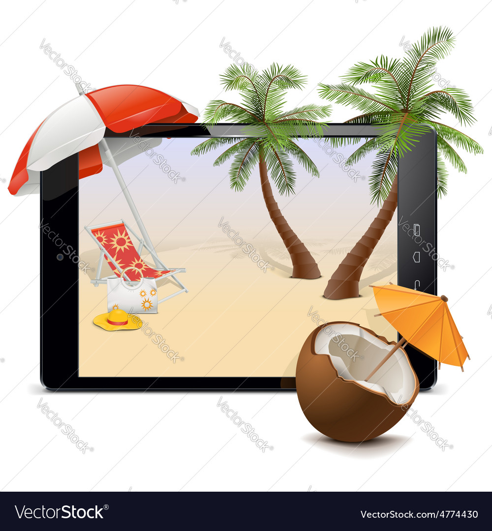Tablet pc with tropical resort vector   Price: 5 Credit (USD $5)