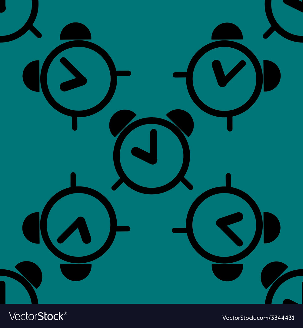 Alarm clock web icon flat design seamless pattern vector   Price: 1 Credit (USD $1)