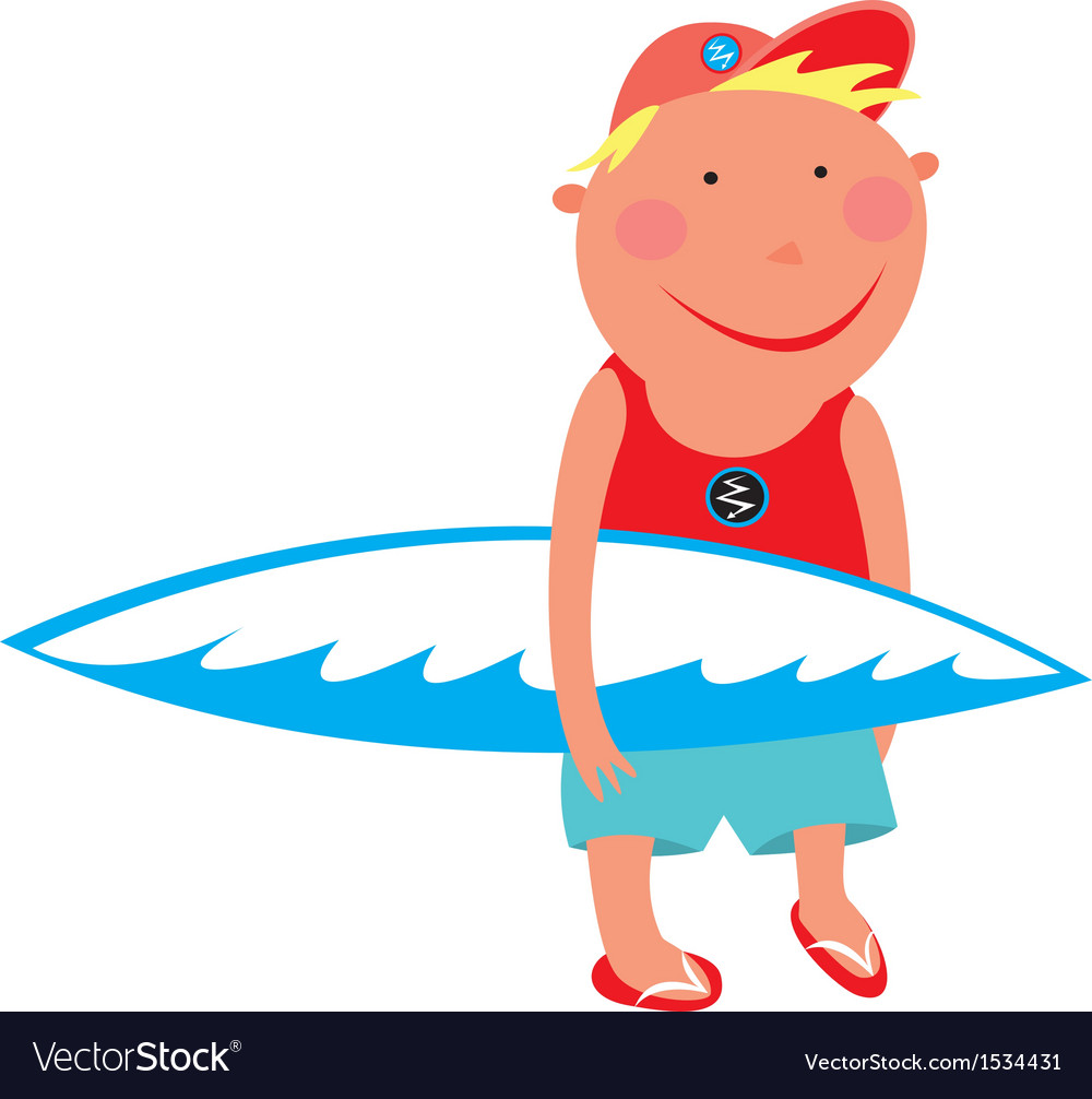 Boy with a surfboard vector | Price: 1 Credit (USD $1)