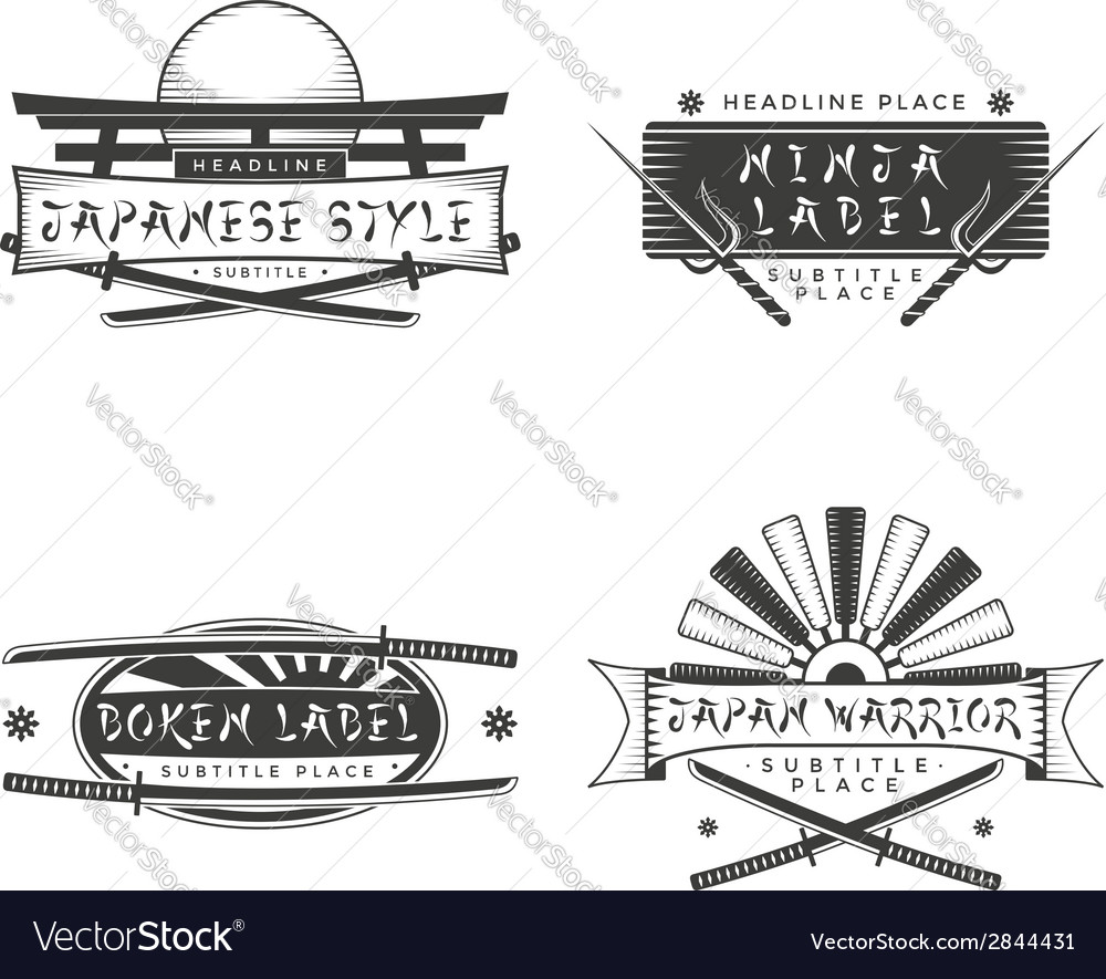 Japan style banners and signs with cold weapons vector | Price: 1 Credit (USD $1)