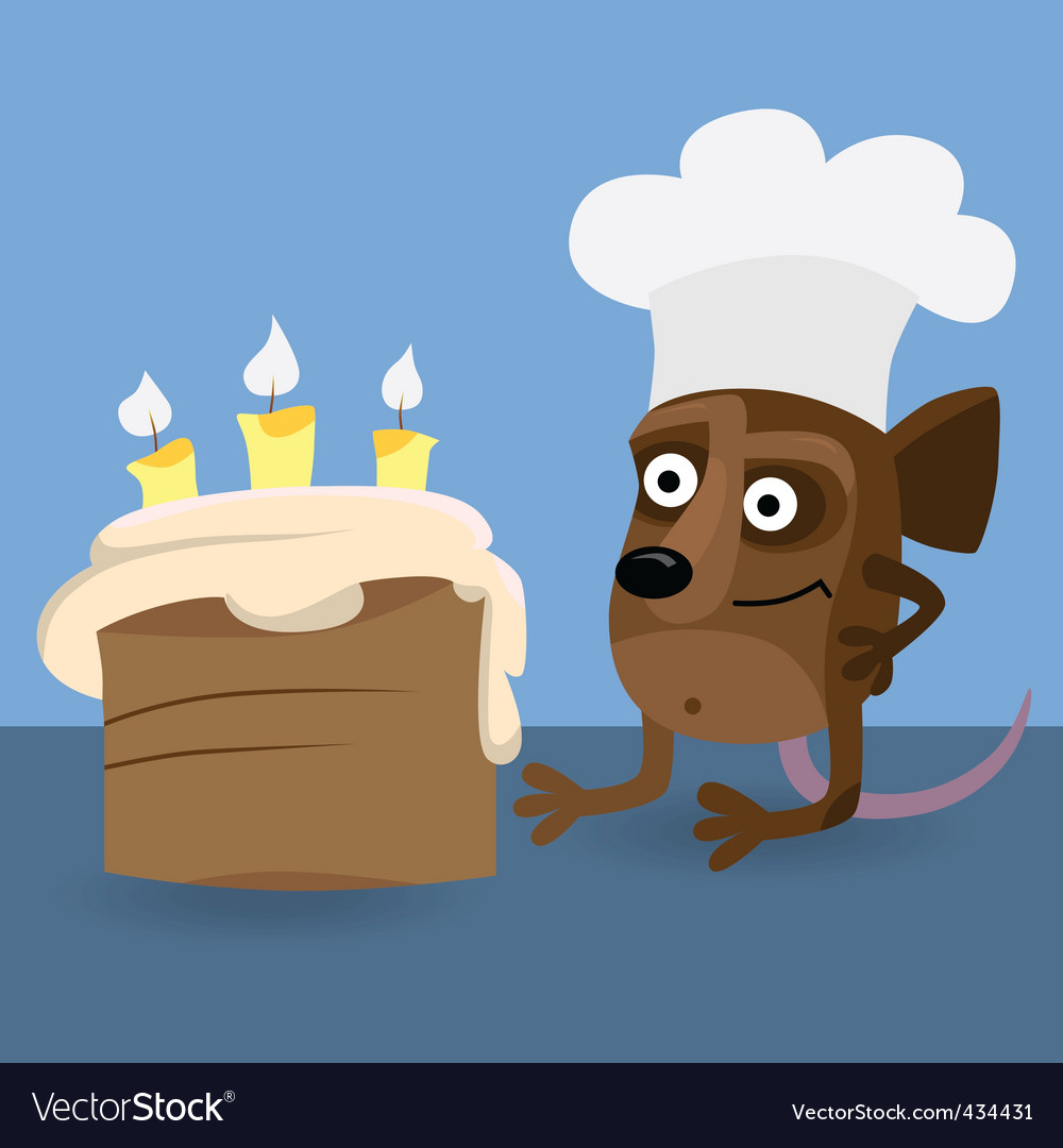 Mouse looking at birthday cake vector | Price: 1 Credit (USD $1)