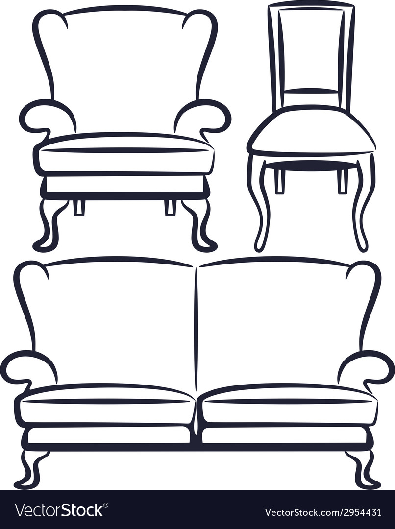 Set of vintage furniture vector | Price: 1 Credit (USD $1)