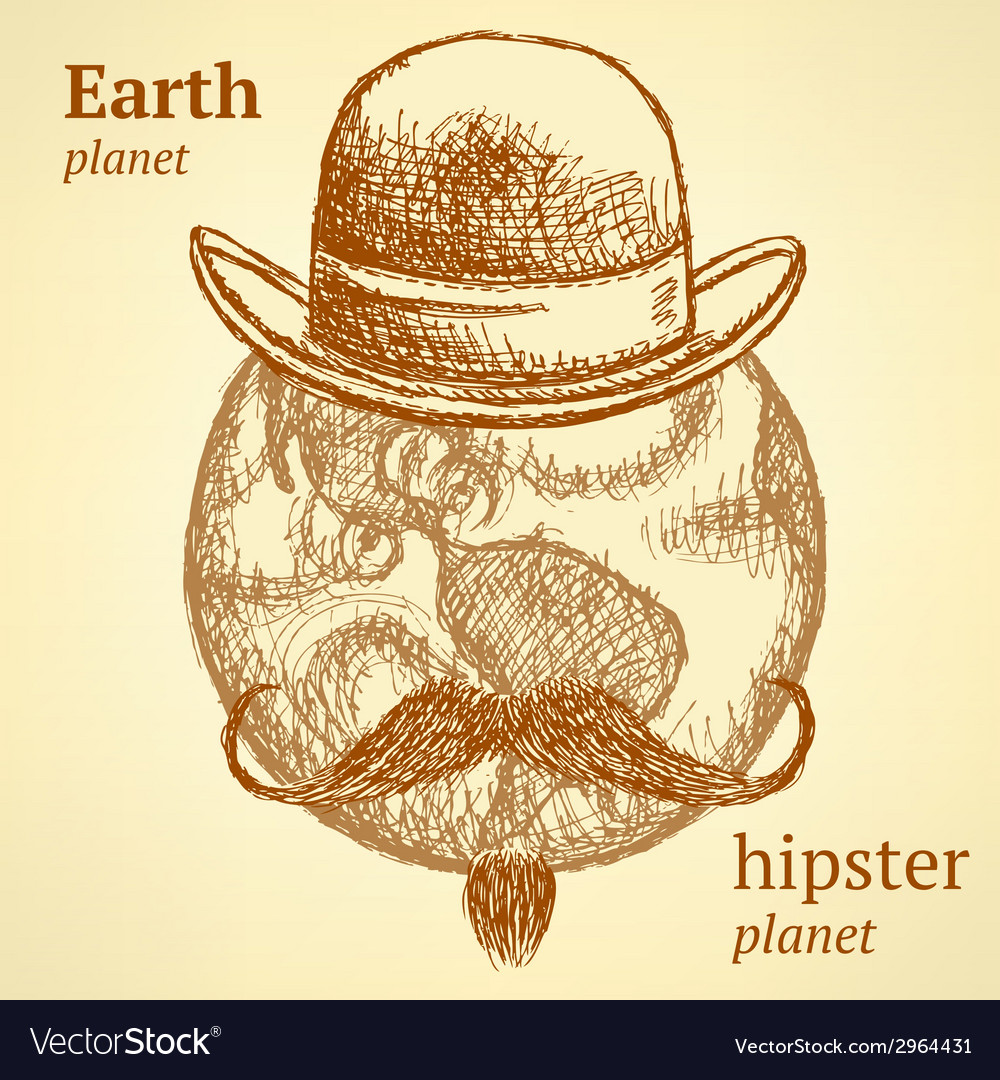 Sketch earth planet in hipster style vector | Price: 1 Credit (USD $1)