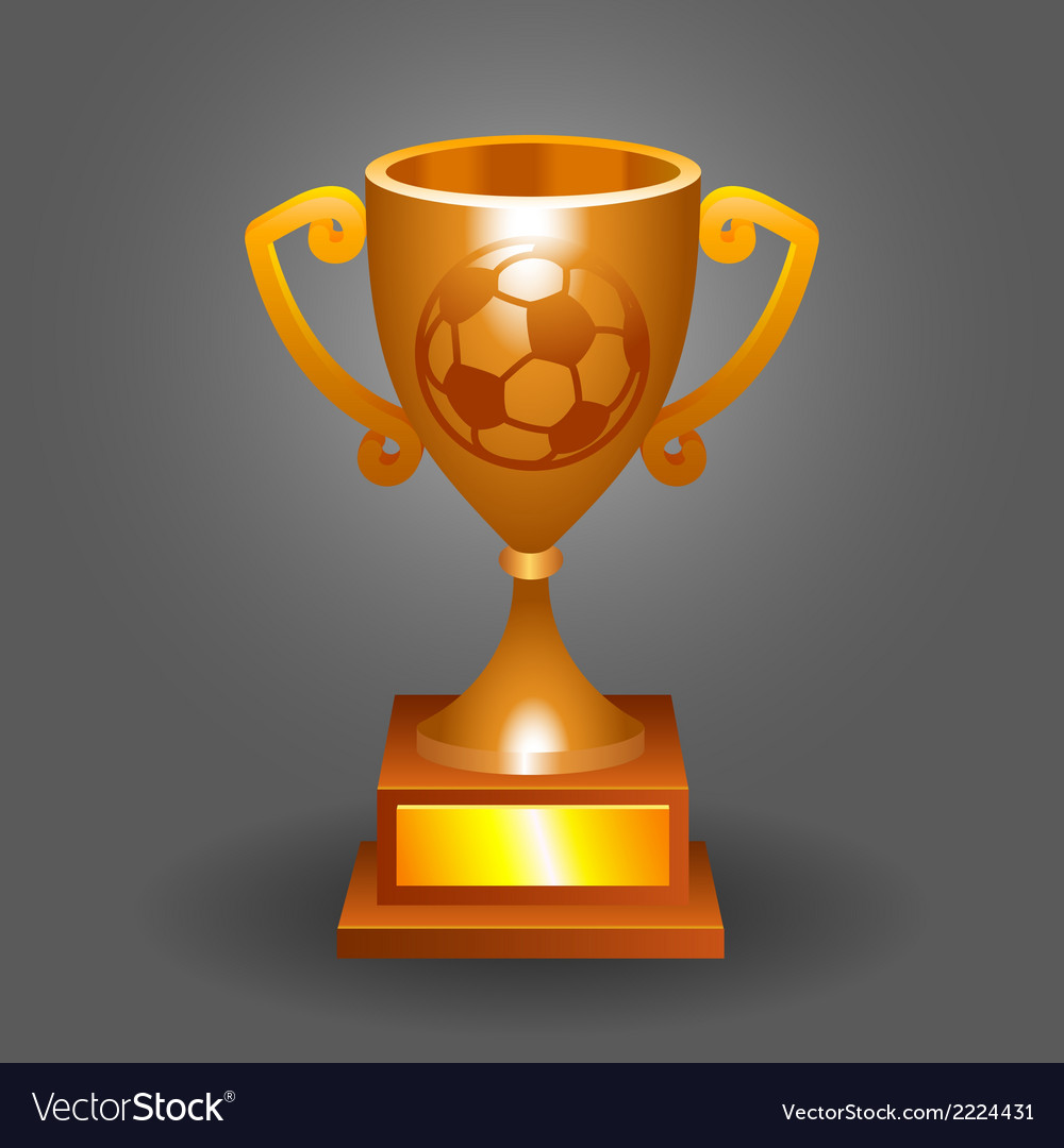 Soccer ball trophy bronze cup bacground vector   Price: 1 Credit (USD $1)