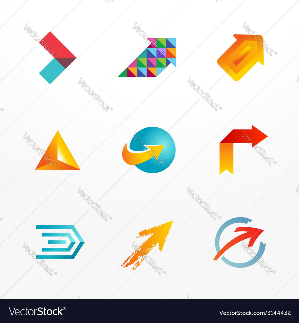 Arrow symbol logo icon set collection of colorful vector | Price: 1 Credit (USD $1)