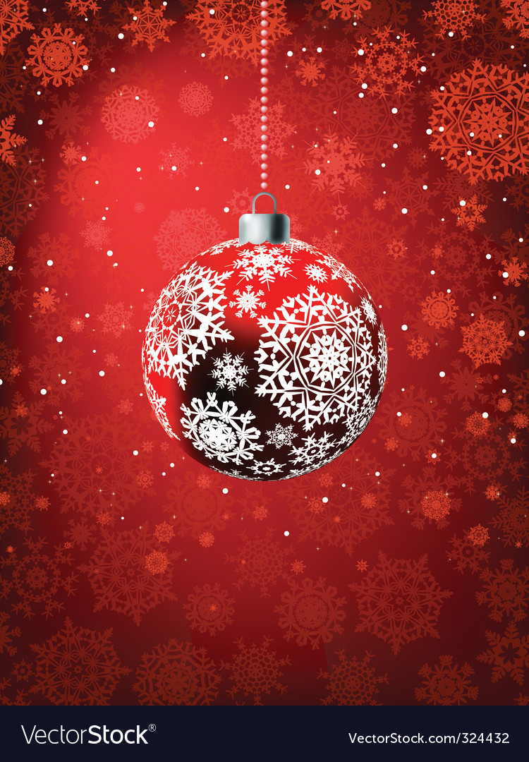 Christmas ball on falling flakes vector | Price: 1 Credit (USD $1)
