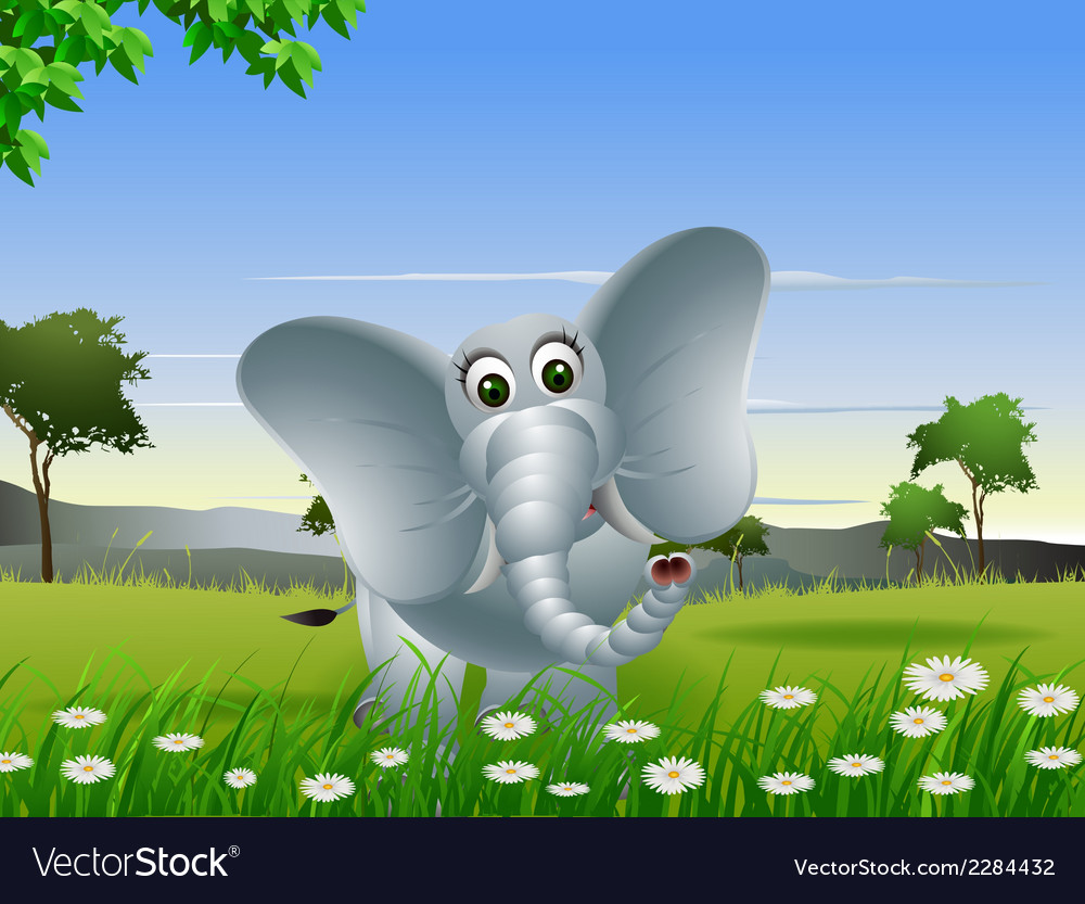 Elephant cartoon on forest vector | Price: 3 Credit (USD $3)