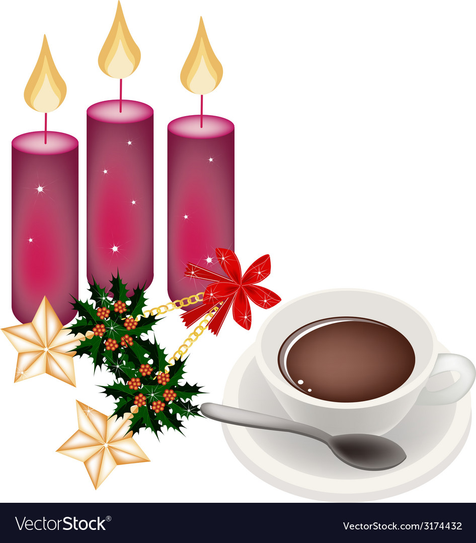 Hot coffee with golden stars and christmas holly vector | Price: 1 Credit (USD $1)