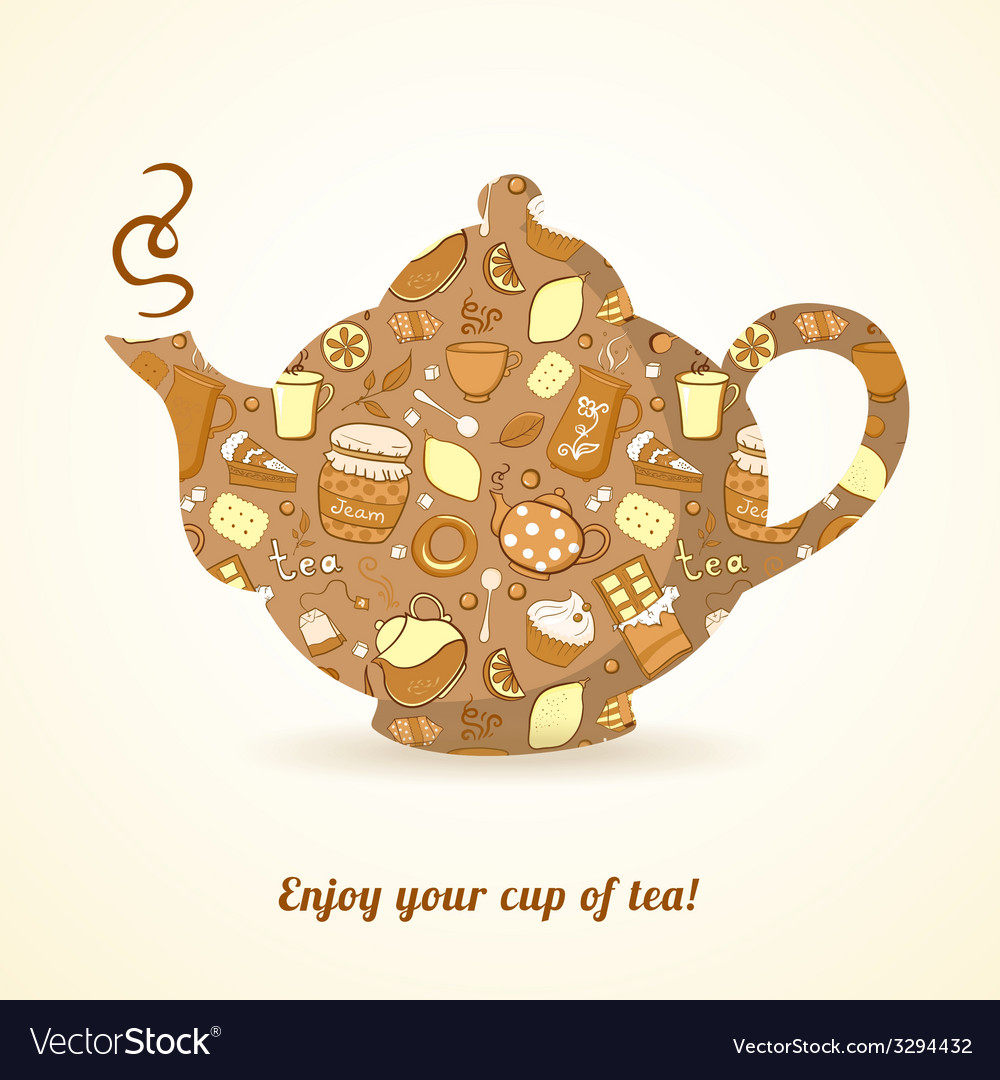 Kettle with tea pattern isolated background vector | Price: 1 Credit (USD $1)