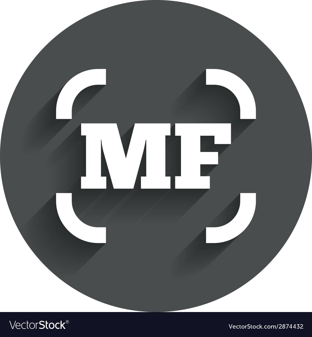 Manual focus photo camera sign icon mf settings vector   Price: 1 Credit (USD $1)