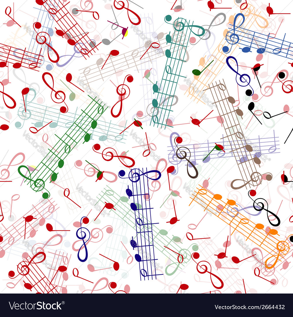 Music notation repeating pattern on a white vector | Price: 1 Credit (USD $1)