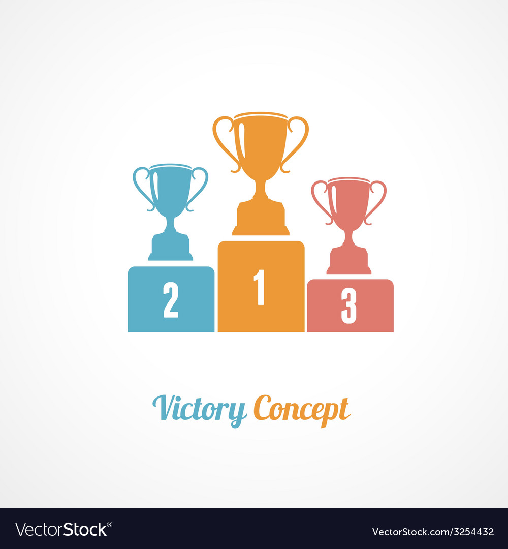 Pedestal with trophy cups business concept vector