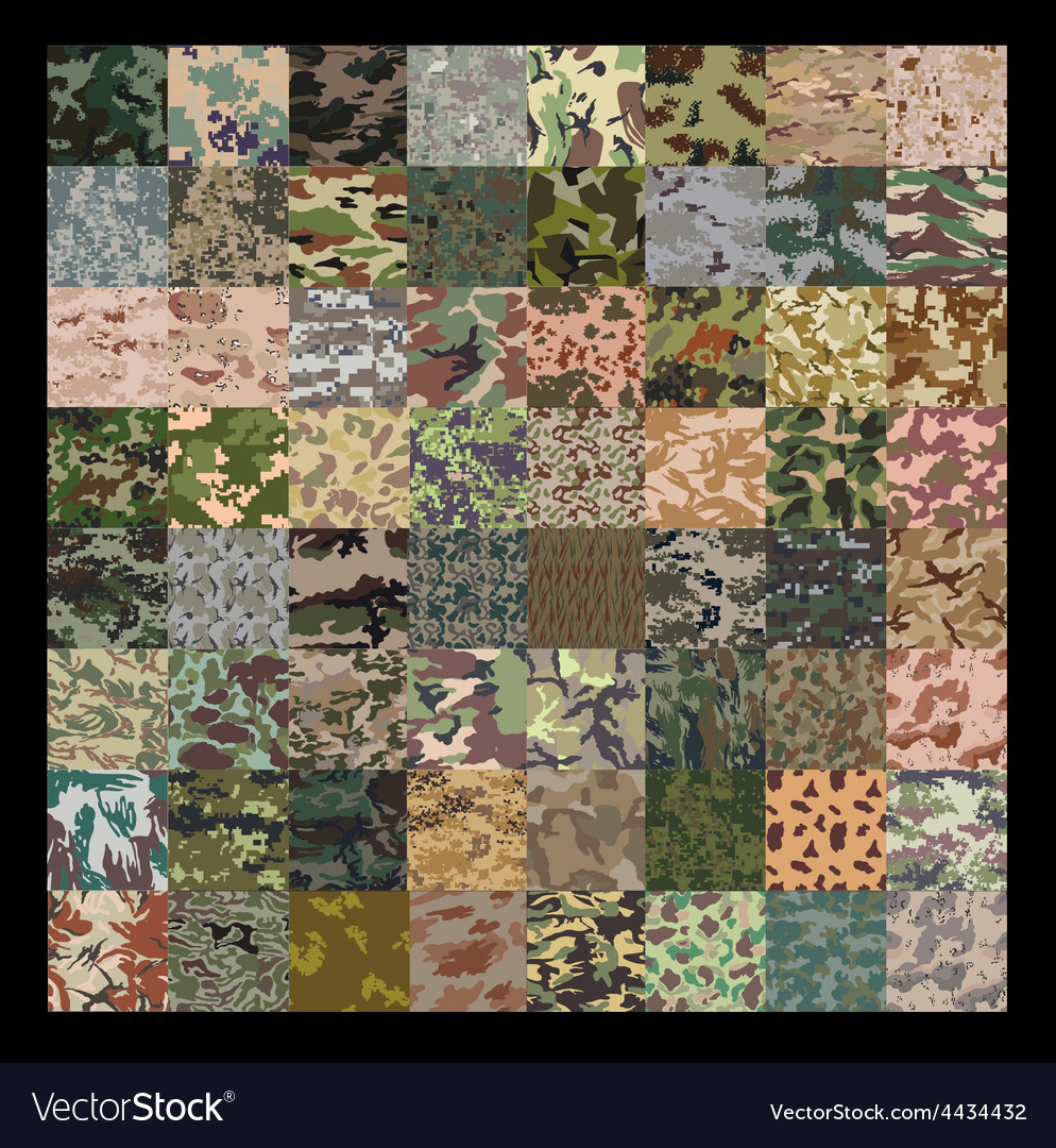 Seamless set of camouflage pattern vector | Price: 1 Credit (USD $1)
