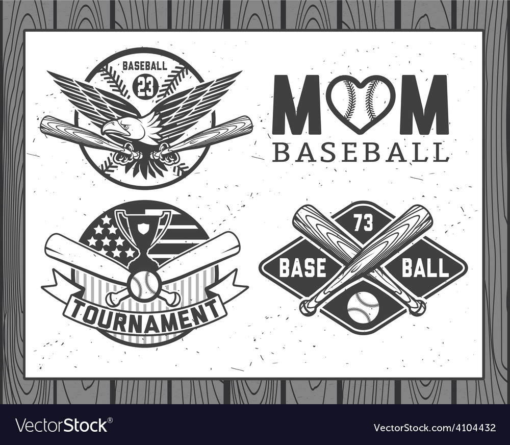 Set of vintage baseball labels and badges vector | Price: 1 Credit (USD $1)