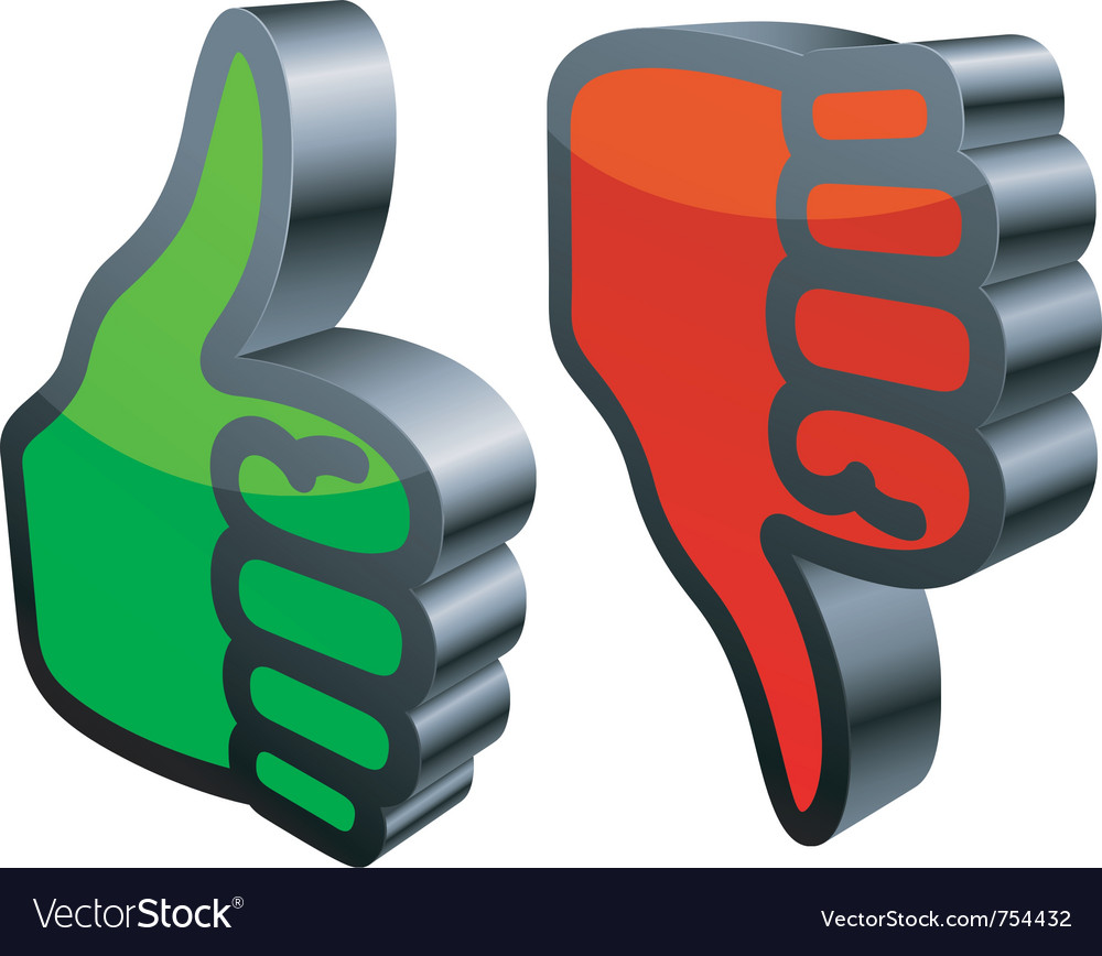 Thumbs up and down vector | Price: 1 Credit (USD $1)