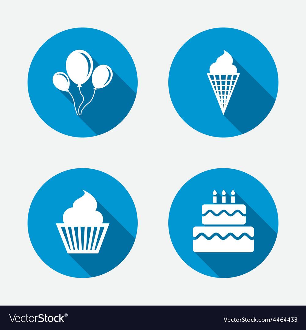 Birthday party icons cake with ice cream symbol vector | Price: 1 Credit (USD $1)
