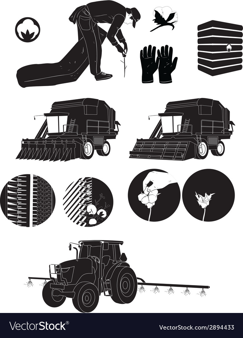 Black silhouette icons cotton farmers and farm vector | Price: 1 Credit (USD $1)