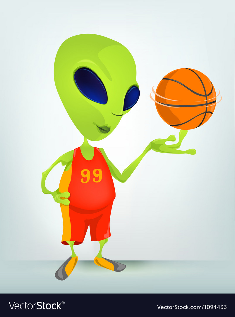 Cartoon alien basketball vector | Price: 1 Credit (USD $1)