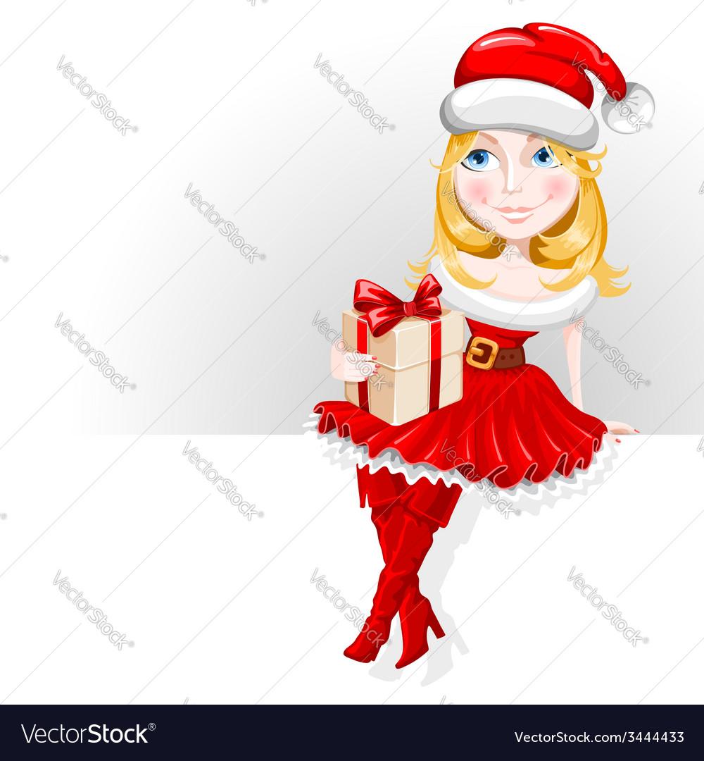 Christmas girl vector | Price: 3 Credit (USD $3)