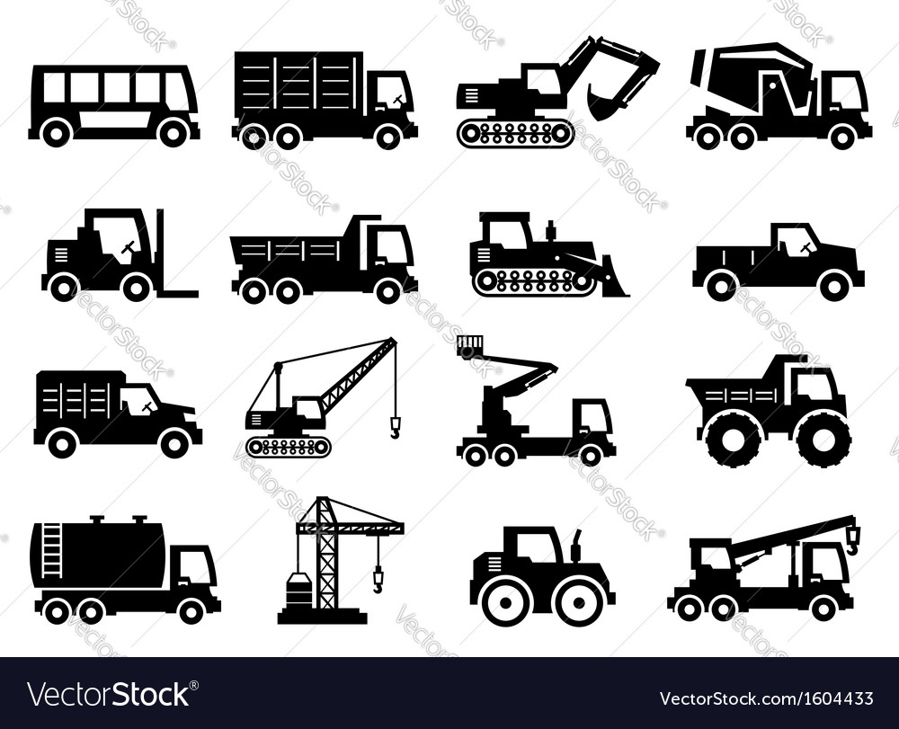 Construction transport icons vector | Price: 1 Credit (USD $1)