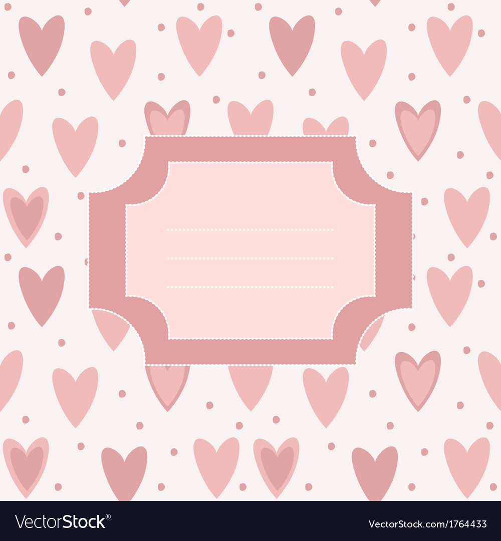 Cute unique post card with pink hearts and dots vector | Price: 1 Credit (USD $1)