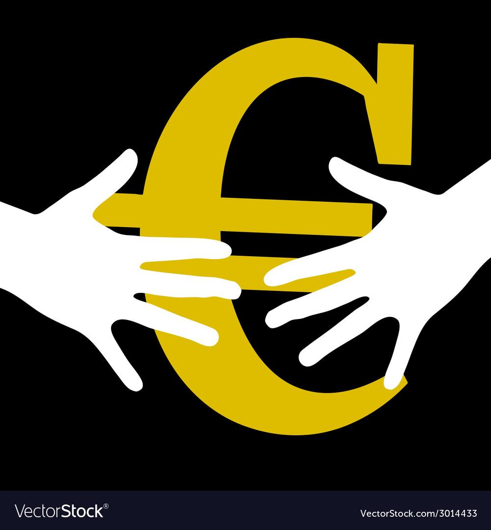 Hand held euro vector | Price: 1 Credit (USD $1)