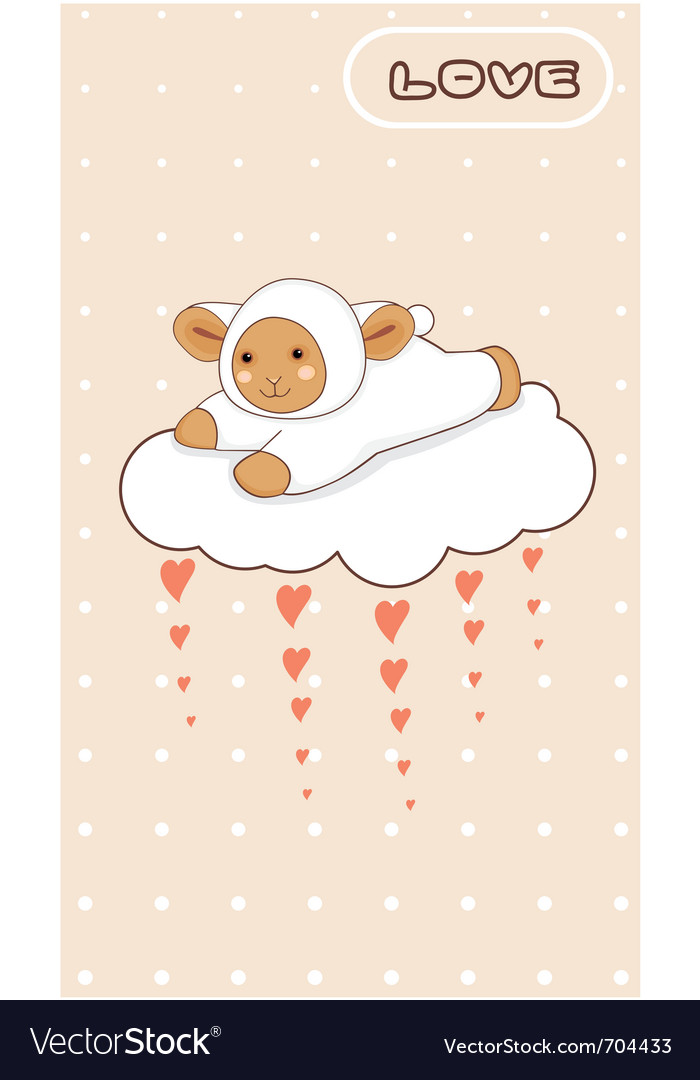 Little lamb flying on a love cloud vector | Price: 1 Credit (USD $1)