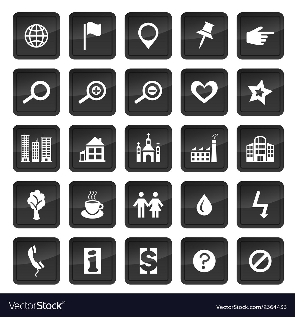 Map icons with dark buttons in background vector | Price: 1 Credit (USD $1)