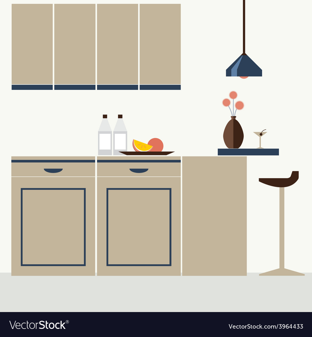 Modern flat design kitchen interior vector | Price: 1 Credit (USD $1)